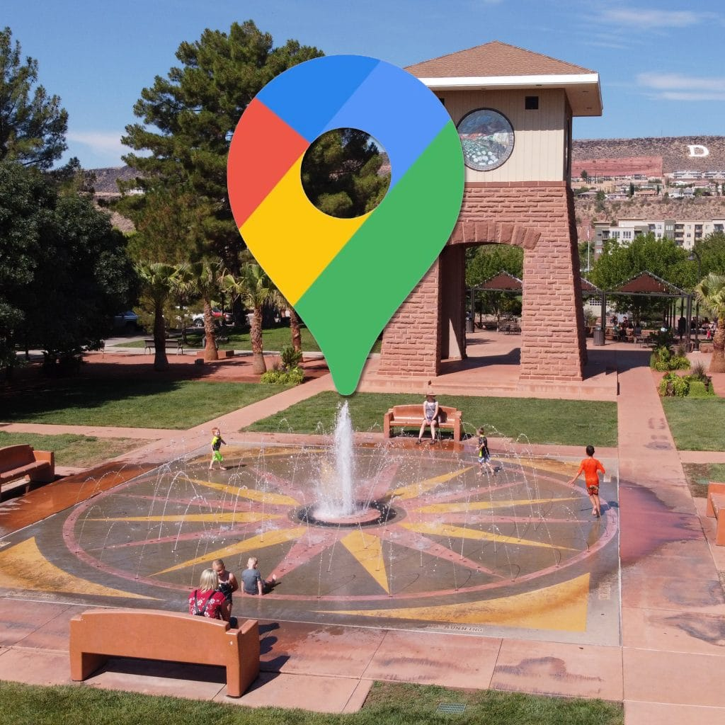 Google Maps logo superimposed over an image of downtown St. George, Utah- Properly location targeting your Google and Facebook ads can help your business create more effective campaigns and stretch your ad dollars.